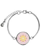 Pink Mandala Beaded Cord Bracelet Metallic Circle Bracelet thumbnail