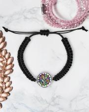 Mandala color light Cord Circle Bracelet aos-bracelet-cord-front-lifestyle-1