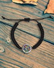 Mandala color light Cord Circle Bracelet aos-bracelet-cord-front-lifestyle-4