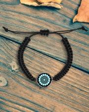 Cord Circle Bracelet Mandala green black Cord Circle Bracelet aos-bracelet-cord-front-lifestyle-4