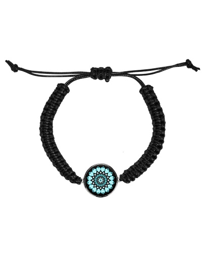 Cord Circle Bracelet Mandala green black