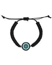 Cord Circle Bracelet Mandala green black Cord Circle Bracelet front