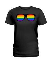 Glasses Rainbow Gay Funny shirt Ladies T-Shirt thumbnail