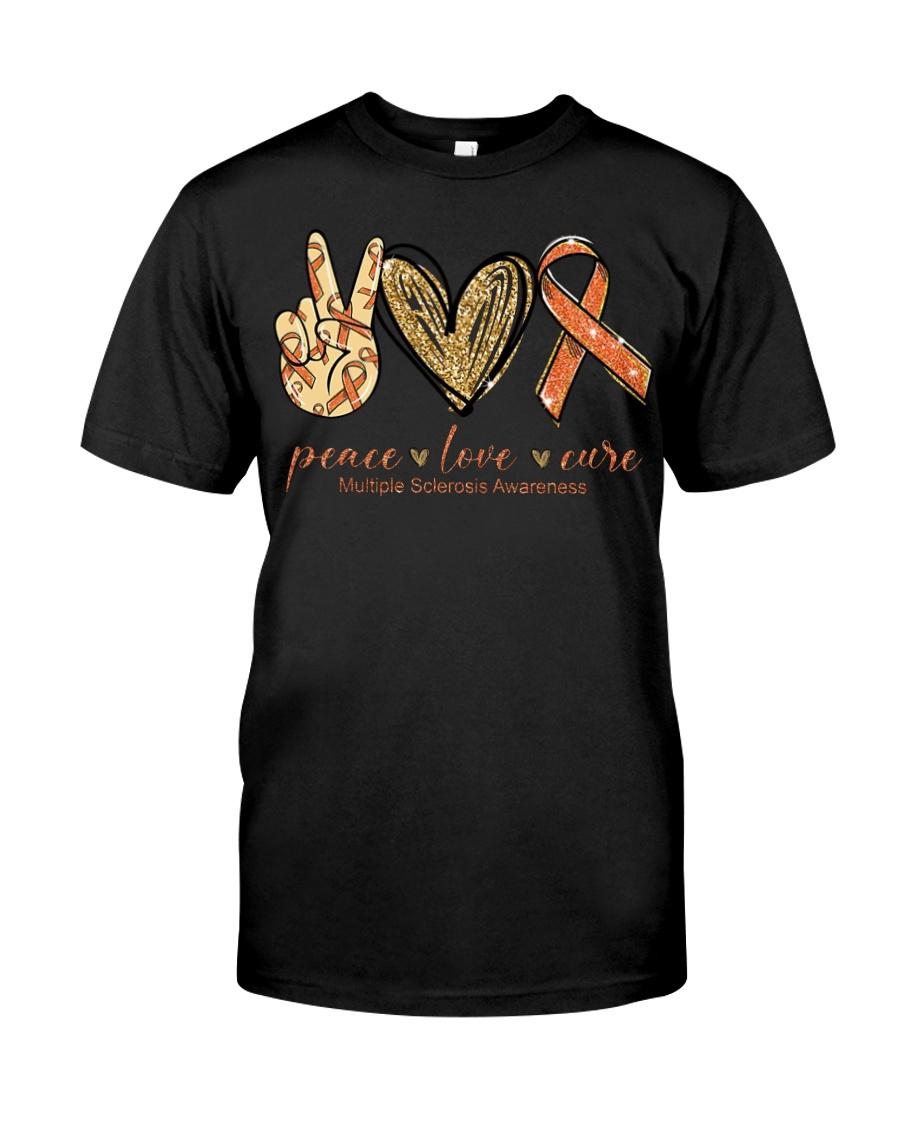 Peace love cure multiple sclerosis awareness shirt Classic T-Shirt