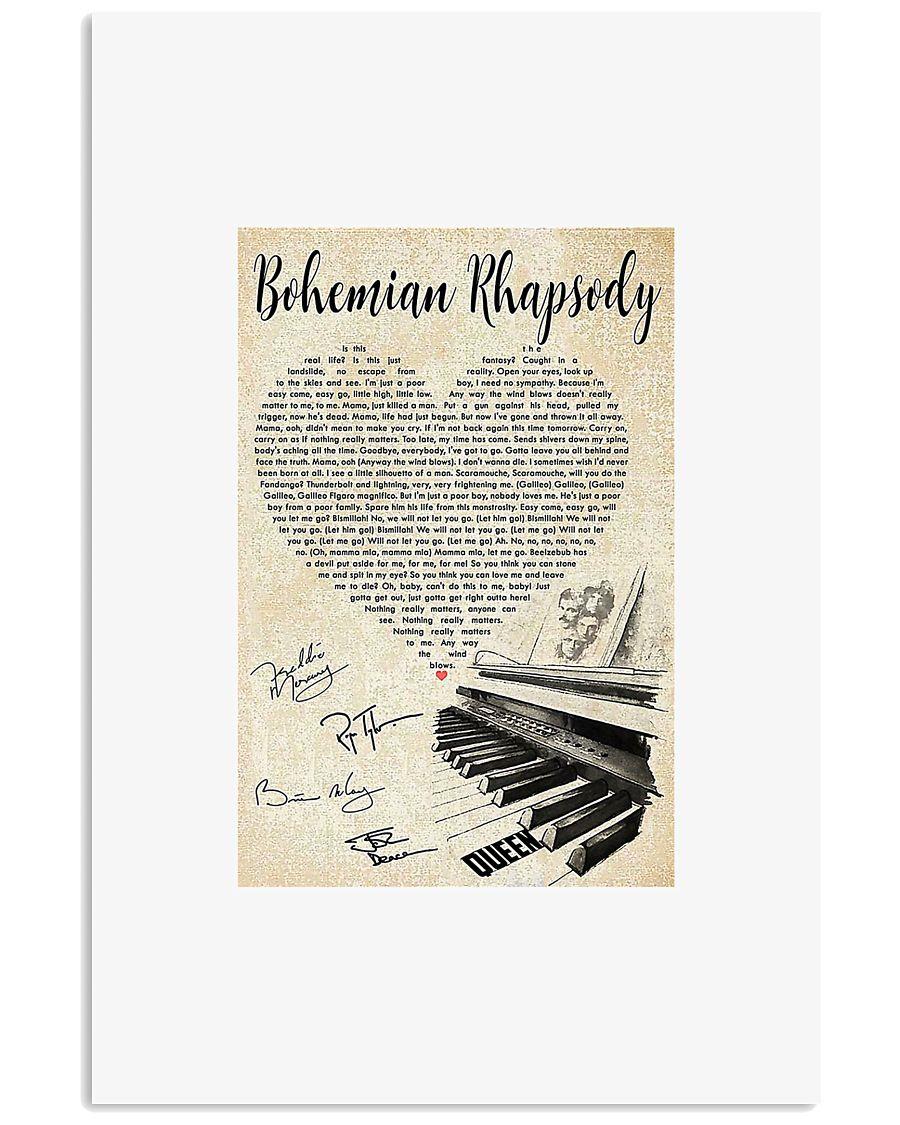 Piano Bohemian Rhapsody lyric poster 11x17 Poster