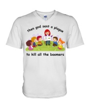 Then god sent a plague to kill all the boomers V-Neck T-Shirt thumbnail