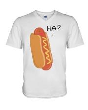 Hot dog cartoon HA  V-Neck T-Shirt thumbnail