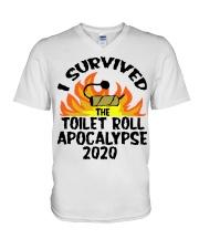 I survived toilet roll apocalypse 2020 shirt V-Neck T-Shirt thumbnail