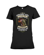 I am a january girl i can do all things through sh Premium Fit Ladies Tee thumbnail