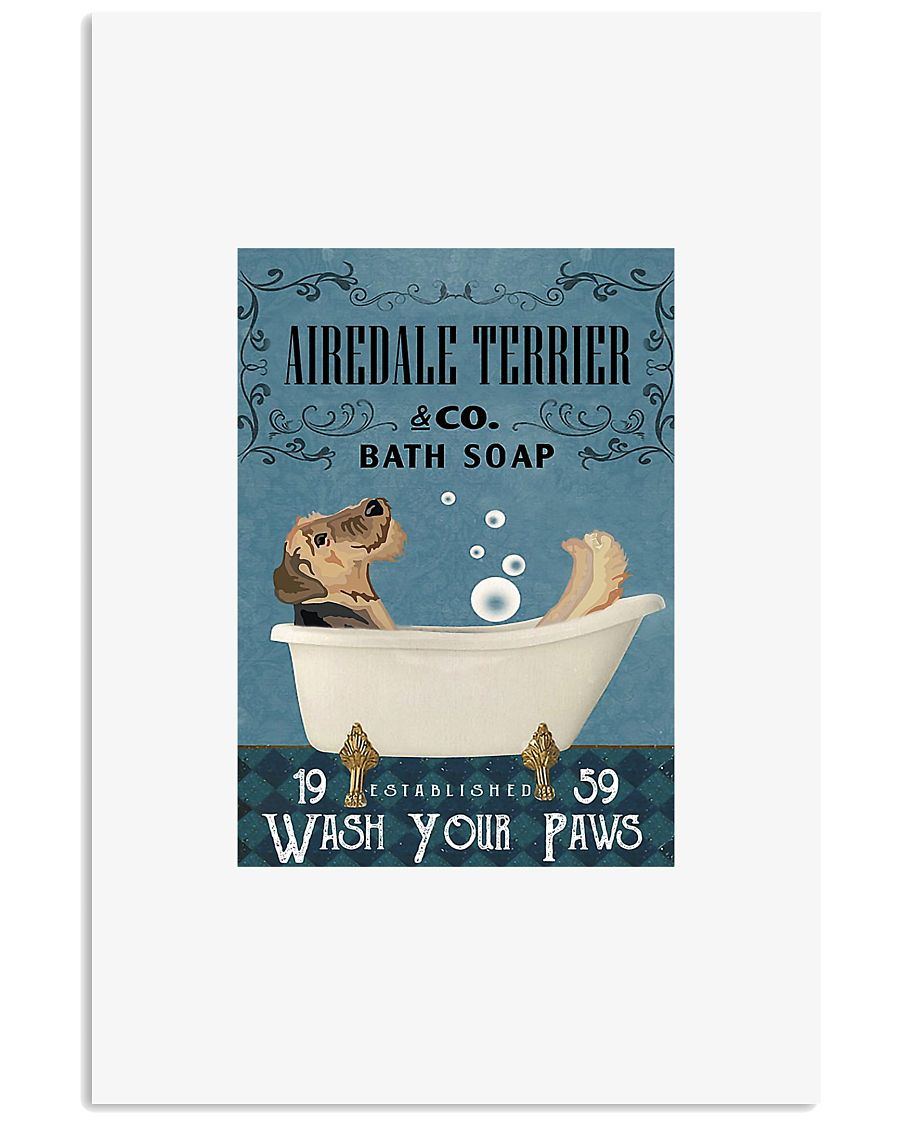 Airedale terrier co bath soap wash your paws poste 11x17 Poster