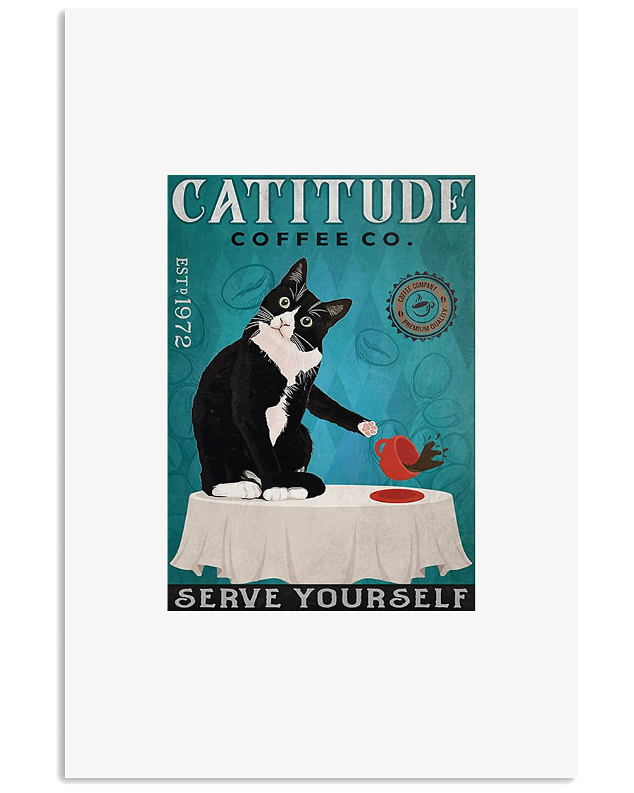 Cattitude coffee co serve yourself poster 11x17 Poster