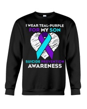suicide prevention awareness shirt i wear teal pur Crewneck Sweatshirt thumbnail