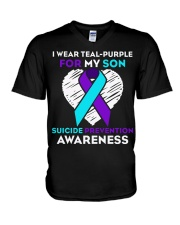 suicide prevention awareness shirt i wear teal pur V-Neck T-Shirt thumbnail