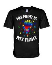 his fight is my fight autism awareness and support V-Neck T-Shirt thumbnail