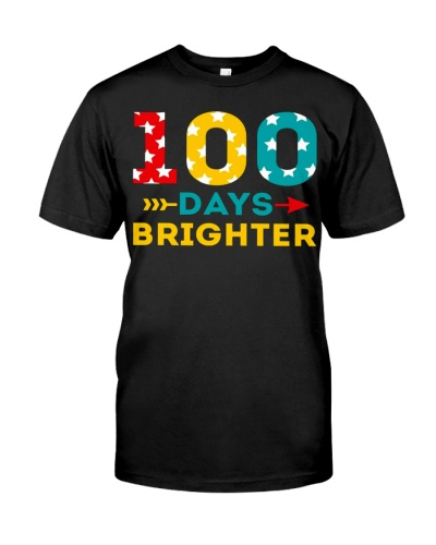 100 days of school shirt brighter tee tjp