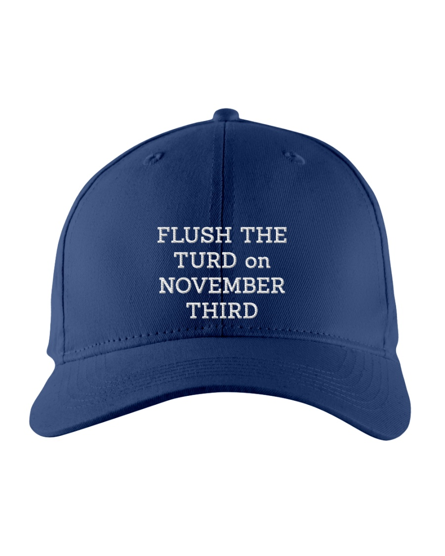 FLUSH THE TURD - WHITE LETTERING Embroidered Hat