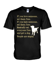 Get a dog - People are stupid V-Neck T-Shirt thumbnail
