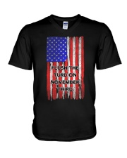 FLUSH THE TURD - FLAG VERSION V-Neck T-Shirt thumbnail