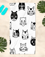 Cats Black and White Beach Towel Beach Towel aos-towelbeach-vertical-front-lifestyle-2