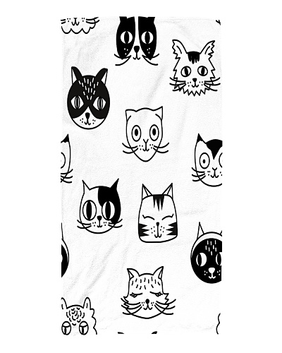 Cats Black and White Beach Towel