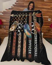 "Correctional Officer Large Fleece Blanket - 60"" x 80"" aos-coral-fleece-blanket-60x80-lifestyle-front-04"
