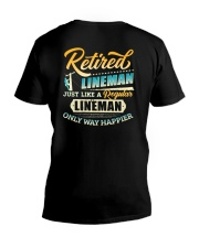 Retired Lineman - Only Way Happier V-Neck T-Shirt thumbnail
