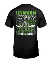 Lineman I Work Hard And Kneel For The Lord Classic T-Shirt back