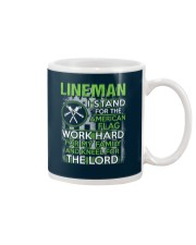 Lineman I Work Hard And Kneel For The Lord Mug thumbnail