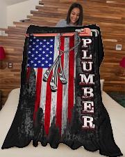 "Plumber USA Flag Large Fleece Blanket - 60"" x 80"" aos-coral-fleece-blanket-60x80-lifestyle-front-04"