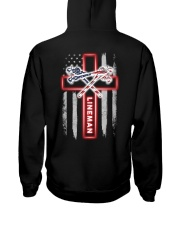 American Flag With Cross Lineman Hooded Sweatshirt thumbnail