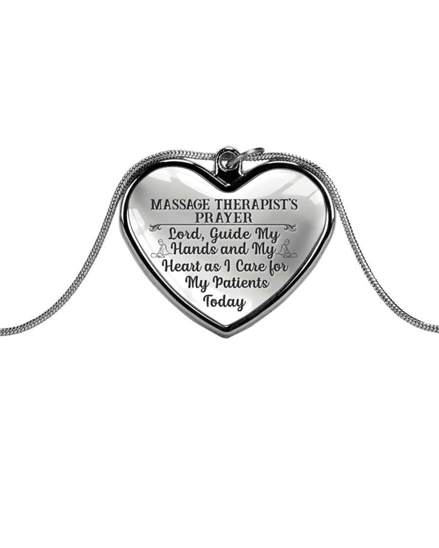 Proud Massage Therapist's Prayer Metallic Heart Necklace