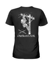 Proud Lineman's Girl Crystal Effect Ladies T-Shirt back