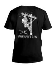 Proud Lineman's Girl Crystal Effect V-Neck T-Shirt thumbnail
