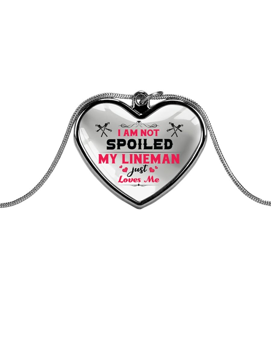 Cute Lineman's Lady Metallic Heart Necklace