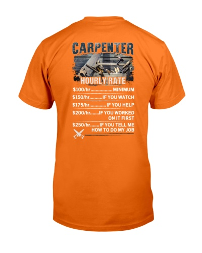 Carpenter Hourly Rate Shirt and Hoodie