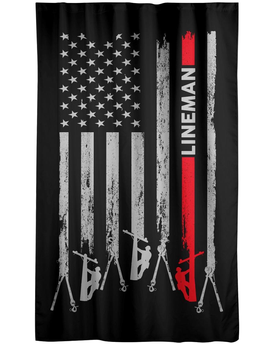 Lineman USA Flag Window Curtain - Blackout