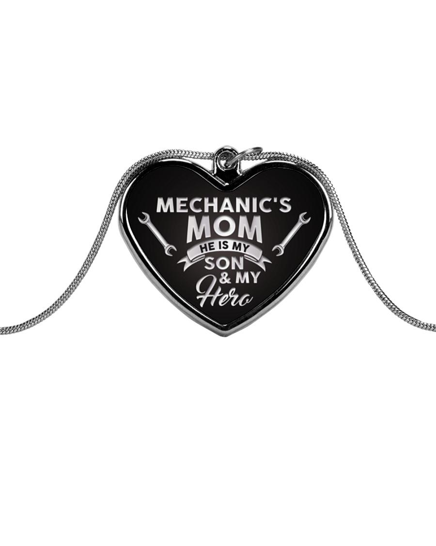 Proud Mechanic's Mom Metallic Heart Necklace