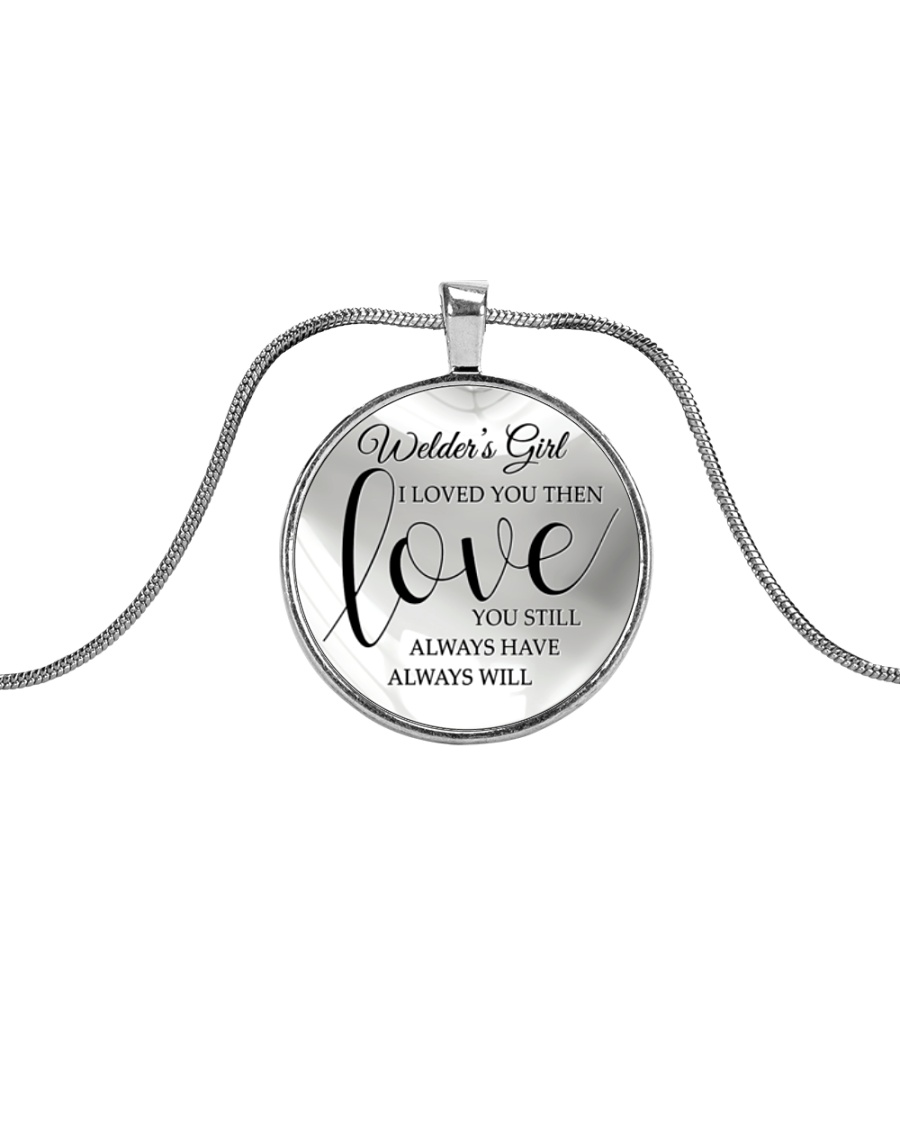 Cute Welder's Lady Metallic Circle Necklace