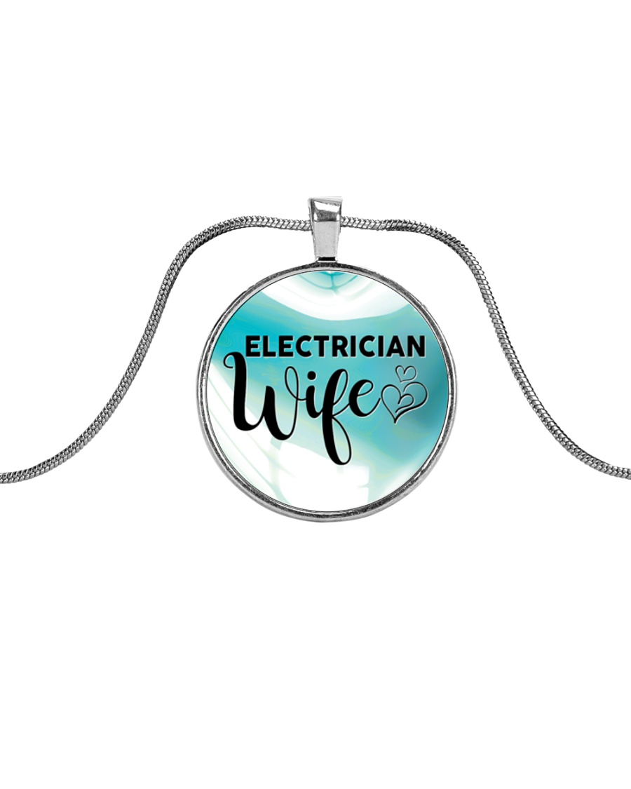 Cute Electrician's Wife Metallic Circle Necklace