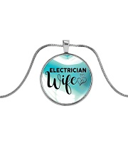 Cute Electrician's Wife Metallic Circle Necklace front