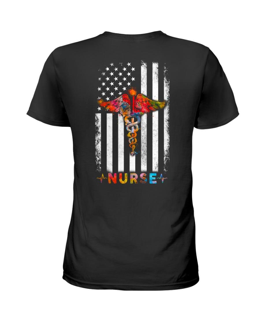American Flag Nurse  Ladies T-Shirt