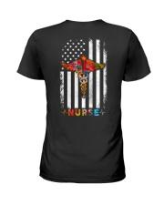 American Flag Nurse  Ladies T-Shirt back