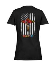 American Flag Nurse  Ladies T-Shirt women-premium-crewneck-shirt-back
