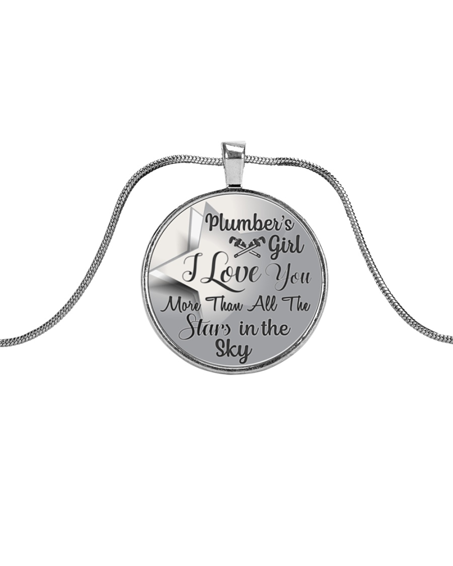Cute Plumber's Lady Metallic Circle Necklace