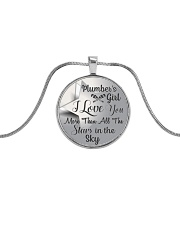 Cute Plumber's Lady Metallic Circle Necklace front