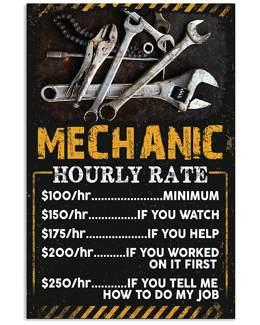 Mechanic's Hourly Rate 11x17 Poster