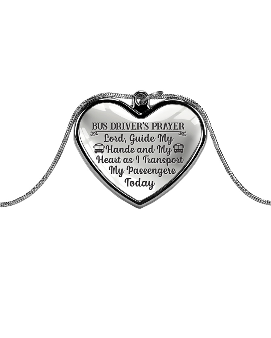 Proud Bus Driver's Prayer Metallic Heart Necklace