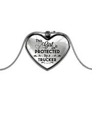 Cute Trucker's Lady Metallic Heart Necklace front