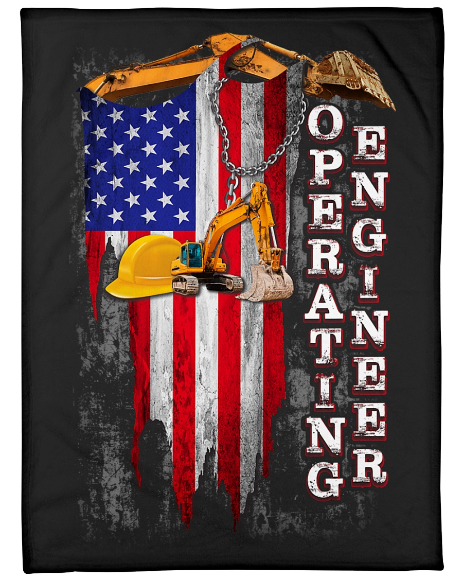 "Operating Engineer USA Flag Large Fleece Blanket - 60"" x 80"""