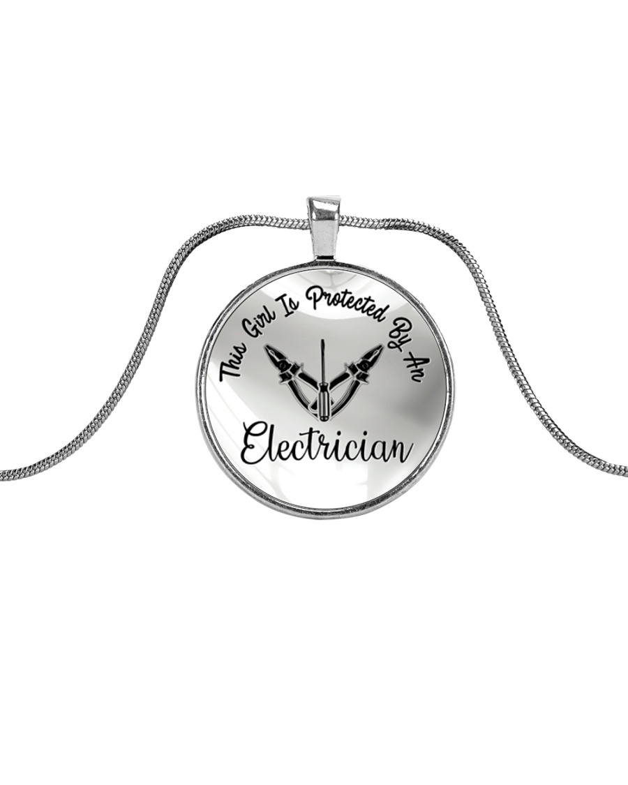 Cute Electrician's Lady Metallic Circle Necklace